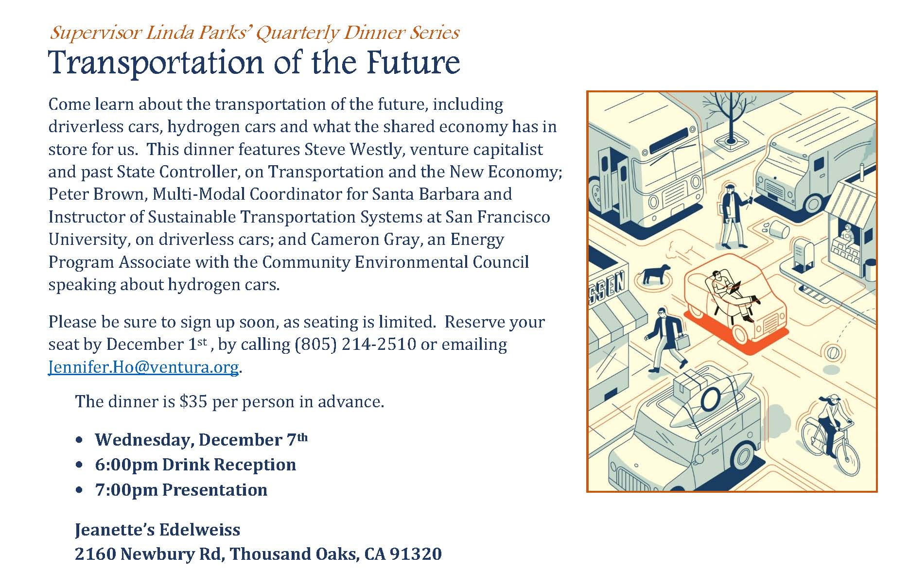 December 7 Dinner Event: Transportation of the Future