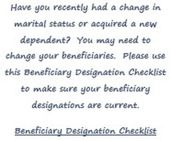 Beneficiary Designation Checklist notice