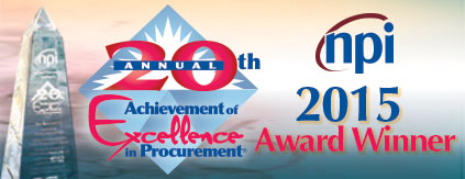 2015 Achievement of Excellence in Procurement Award Winner